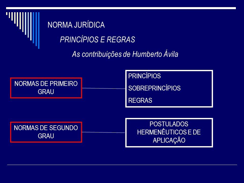 NORMA JURÍDICA PRINCÍPIOS E REGRAS As contribuições de Humberto Ávila NORMAS DE PRIMEIRO GRAU PRINCÍPIOS SOBREPRINCÍPIOS REGRAS NORMAS DE SEGUNDO GRAU
