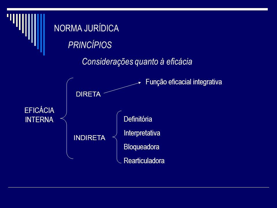 NORMA JURÍDICA PRINCÍPIOS Considerações quanto à eficácia EFICÁCIA INTERNA DIRETA INDIRETA Definitória Interpretativa Bloqueadora Rearticuladora Funçã