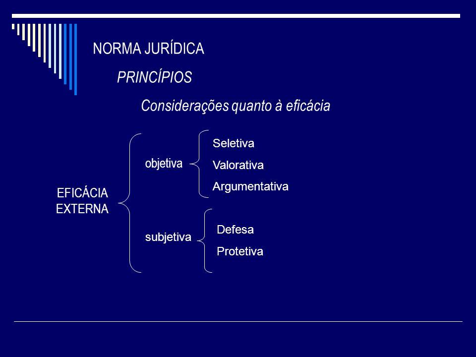NORMA JURÍDICA PRINCÍPIOS Considerações quanto à eficácia EFICÁCIA EXTERNA objetiva Seletiva Valorativa Argumentativa subjetiva Defesa Protetiva