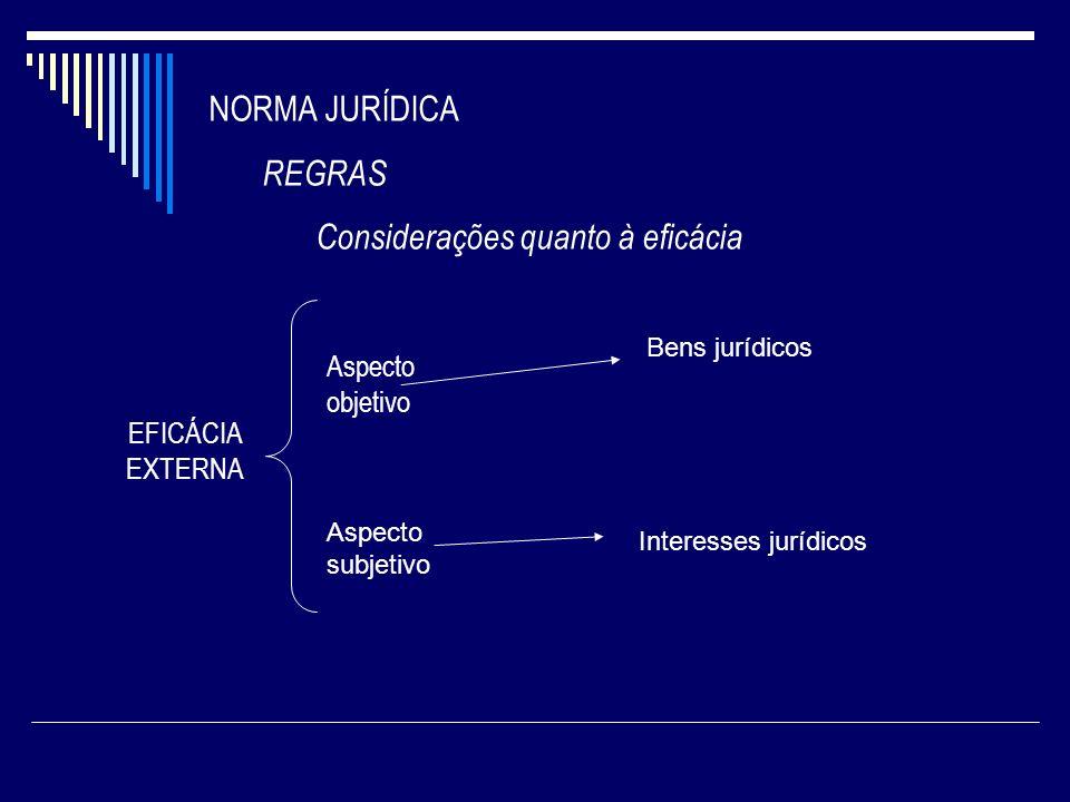NORMA JURÍDICA REGRAS Considerações quanto à eficácia EFICÁCIA EXTERNA Aspecto objetivo Aspecto subjetivo Bens jurídicos Interesses jurídicos