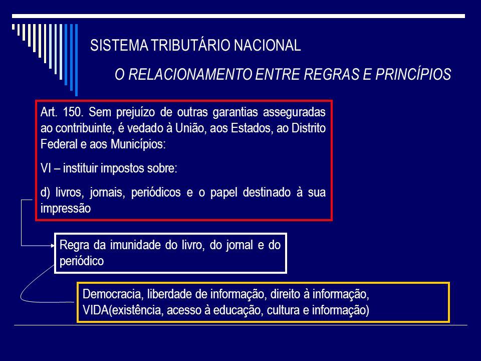 SISTEMA TRIBUTÁRIO NACIONAL O RELACIONAMENTO ENTRE REGRAS E PRINCÍPIOS Art. 150. Sem prejuízo de outras garantias asseguradas ao contribuinte, é vedad