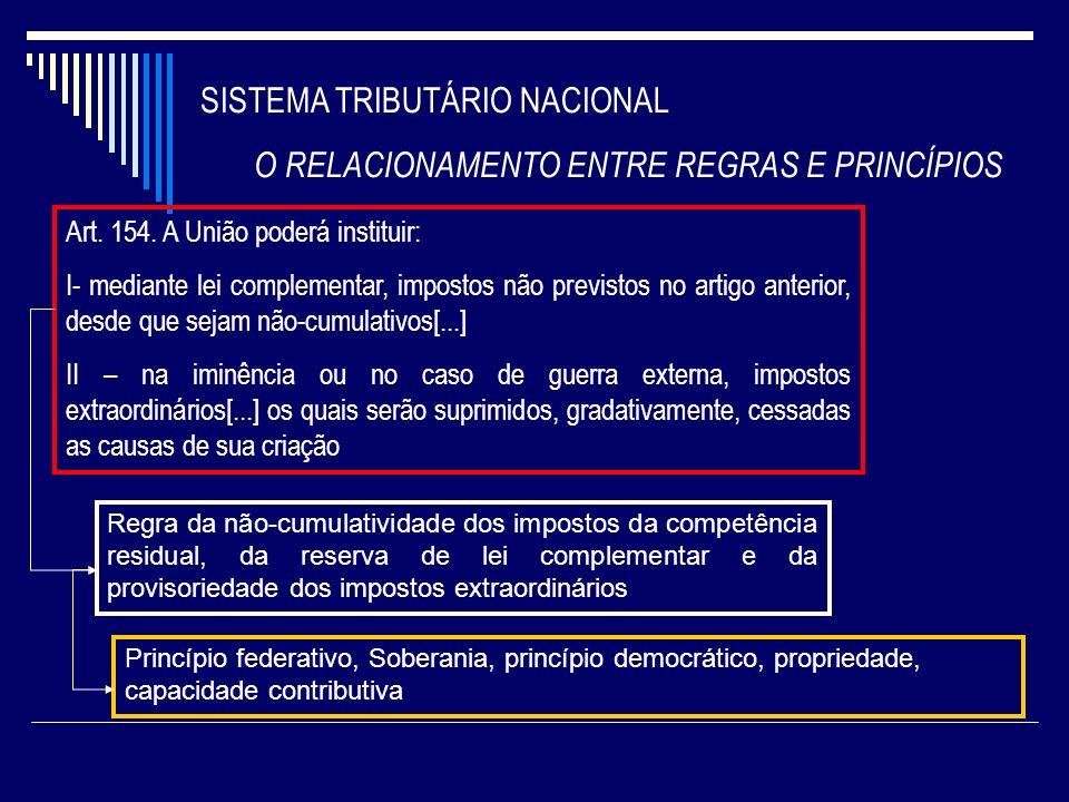 SISTEMA TRIBUTÁRIO NACIONAL O RELACIONAMENTO ENTRE REGRAS E PRINCÍPIOS Art. 154. A União poderá instituir: I- mediante lei complementar, impostos não