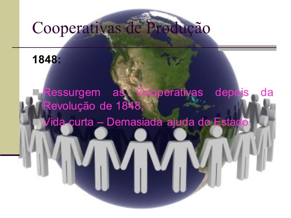 Cooperativas de Produção A PARTIR DE 1878: Aumento considerável do número de Cooperativas decorrente de crise, na França e na Grã-Bretanha.