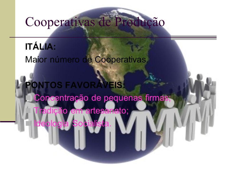 Cooperativas de Produção ITÁLIA: Maior número de Cooperativas. PONTOS FAVORÁVEIS: Concentração de pequenas firmas; Tradição em artesanato; Ideologia S