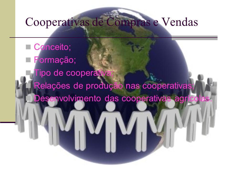Cooperativas de Compras e Vendas São associações de pequenos e médios produtores que procuram ganhos de escala por meio da unificação de compras e/ou vendas.