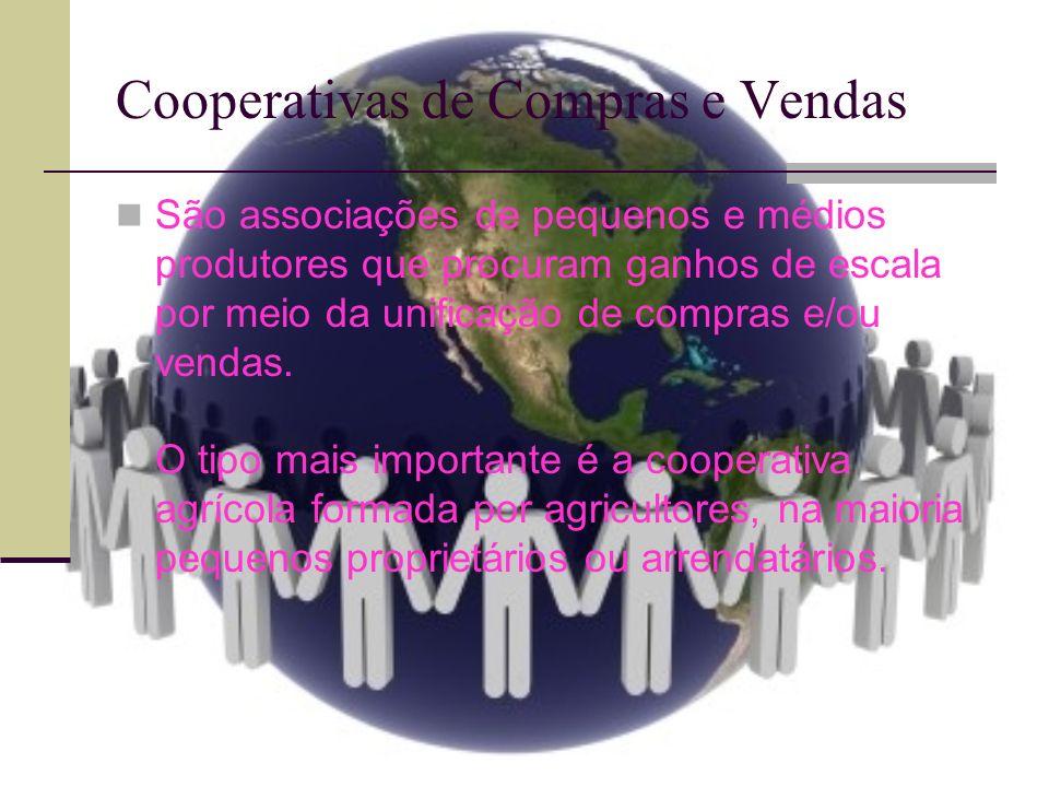 COOPERATIVAS DE COMPRAS E VENDAS (HÍBRIDAS) As relações sociais de produção são de patrão- empregado; São metade solidárias e metade capitalistas; Na agricultura, impediram o domínio completo pelo grande capital, mas não praticam a igualdade, pois preservam a divisão de classes; Constituem parte integrante do movimento cooperativo, articulados pelos mesmos princípios e ideologias ás cooperativas de crédito; Os membros das cooperativas praticam democracia no governo das mesmas, mas atividades são organizadas de modo capitalista;