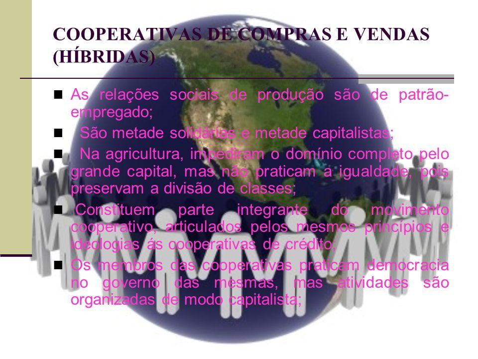 COOPERATIVAS DE COMPRAS E VENDAS (HÍBRIDAS) As relações sociais de produção são de patrão- empregado; São metade solidárias e metade capitalistas; Na