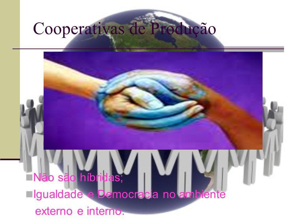 Cooperativas de Produção Não são híbridas; Igualdade e Democracia no ambiente externo e interno.