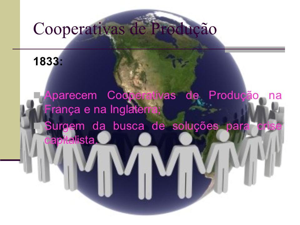 Cooperativas de Produção 1833: Aparecem Cooperativas de Produção na França e na Inglaterra; Surgem da busca de soluções para crise capitalista.