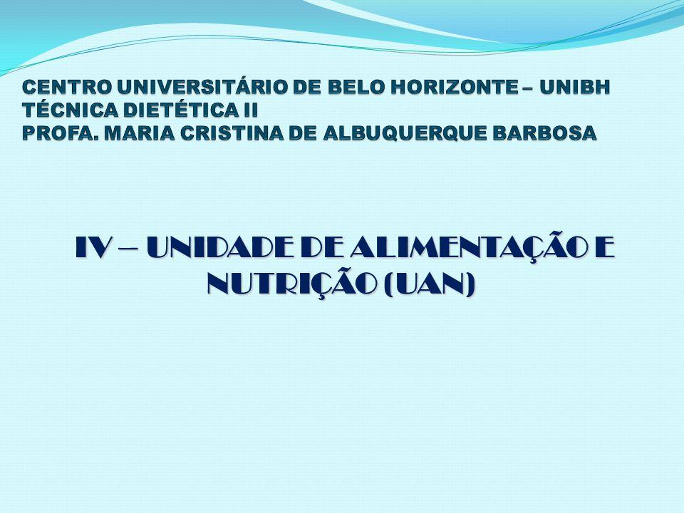 IV – UNIDADE DE ALIMENTAÇÃO E NUTRIÇÃO (UAN) IV – UNIDADE DE ALIMENTAÇÃO E NUTRIÇÃO (UAN)
