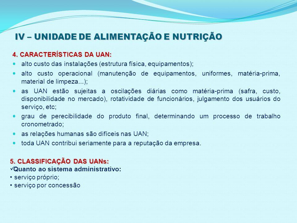 IV – UNIDADE DE ALIMENTAÇÃO E NUTRIÇÃO 4. CARACTERÍSTICAS DA UAN: alto custo das instalações (estrutura física, equipamentos); alto custo operacional