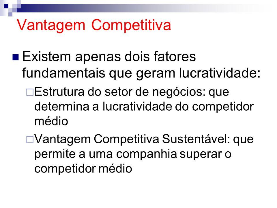 Vantagem Competitiva Existem apenas dois fatores fundamentais que geram lucratividade: Estrutura do setor de negócios: que determina a lucratividade d