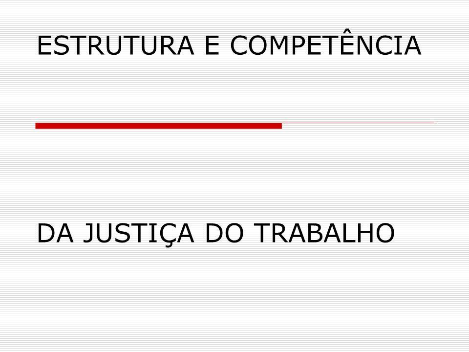 ESTRUTURA E COMPETÊNCIA DA JUSTIÇA DO TRABALHO