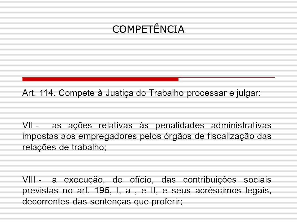 COMPETÊNCIA Art.114.