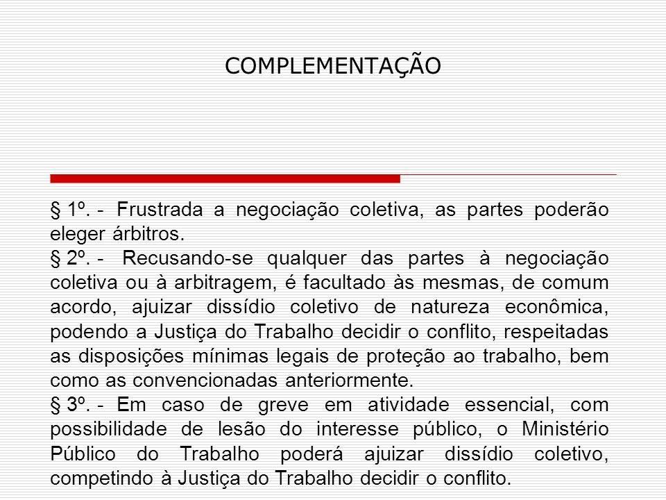 COMPLEMENTAÇÃO § 1º.- Frustrada a negociação coletiva, as partes poderão eleger árbitros.