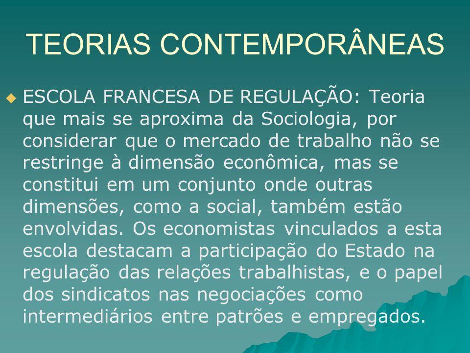TEORIAS CONTEMPORÂNEAS ESCOLA FRANCESA DE REGULAÇÃO: Teoria que mais se aproxima da Sociologia, por considerar que o mercado de trabalho não se restri