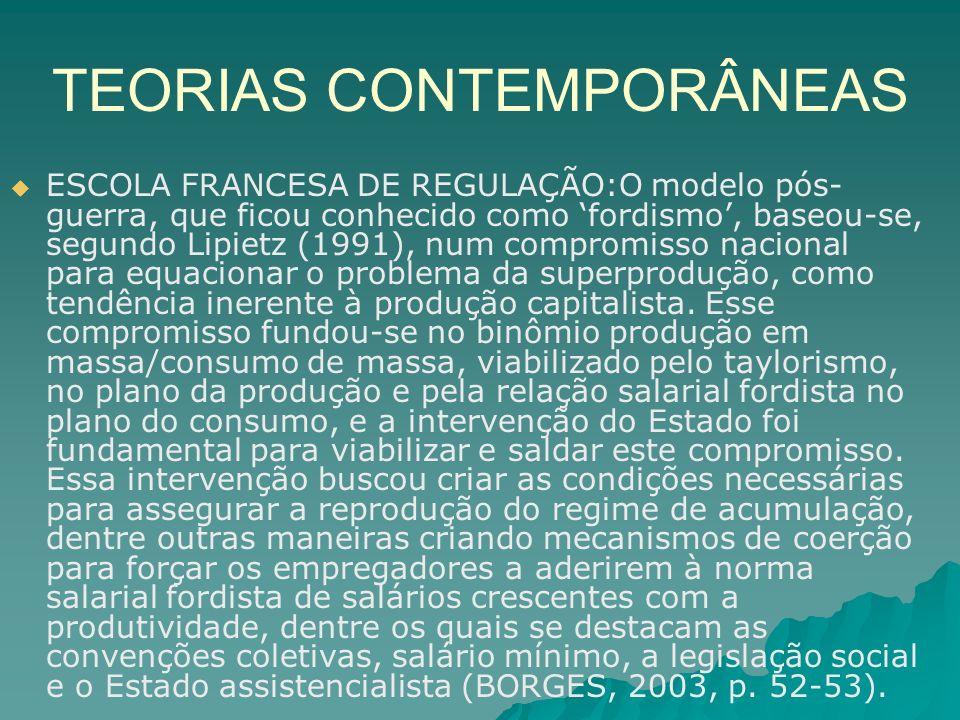 TEORIAS CONTEMPORÂNEAS ESCOLA FRANCESA DE REGULAÇÃO:O modelo pós- guerra, que ficou conhecido como fordismo, baseou-se, segundo Lipietz (1991), num co