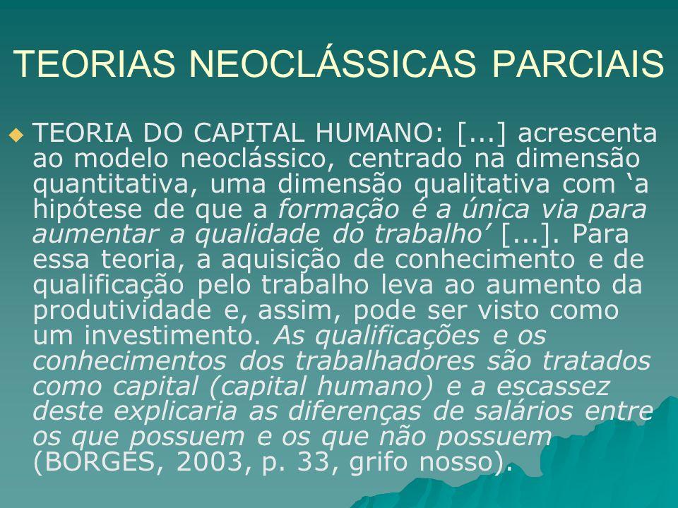 TEORIAS NEOCLÁSSICAS PARCIAIS TEORIA DO CAPITAL HUMANO: [...] acrescenta ao modelo neoclássico, centrado na dimensão quantitativa, uma dimensão qualit