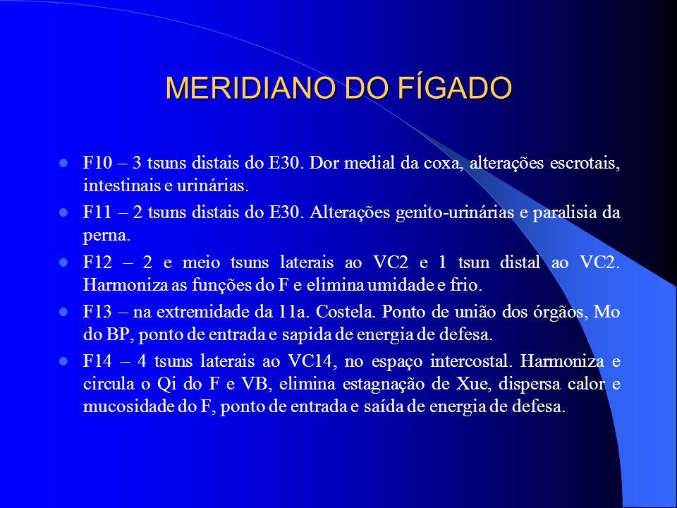 MERIDIANO DO FÍGADO F10 – 3 tsuns distais do E30. Dor medial da coxa, alterações escrotais, intestinais e urinárias. F11 – 2 tsuns distais do E30. Alt