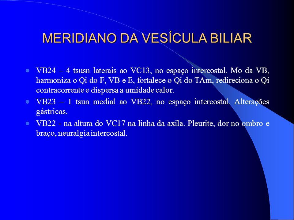 MERIDIANO DA VESÍCULA BILIAR VB24 – 4 tsusn laterais ao VC13, no espaço intercostal. Mo da VB, harmoniza o Qi do F, VB e E, fortalece o Qi do TAm, red