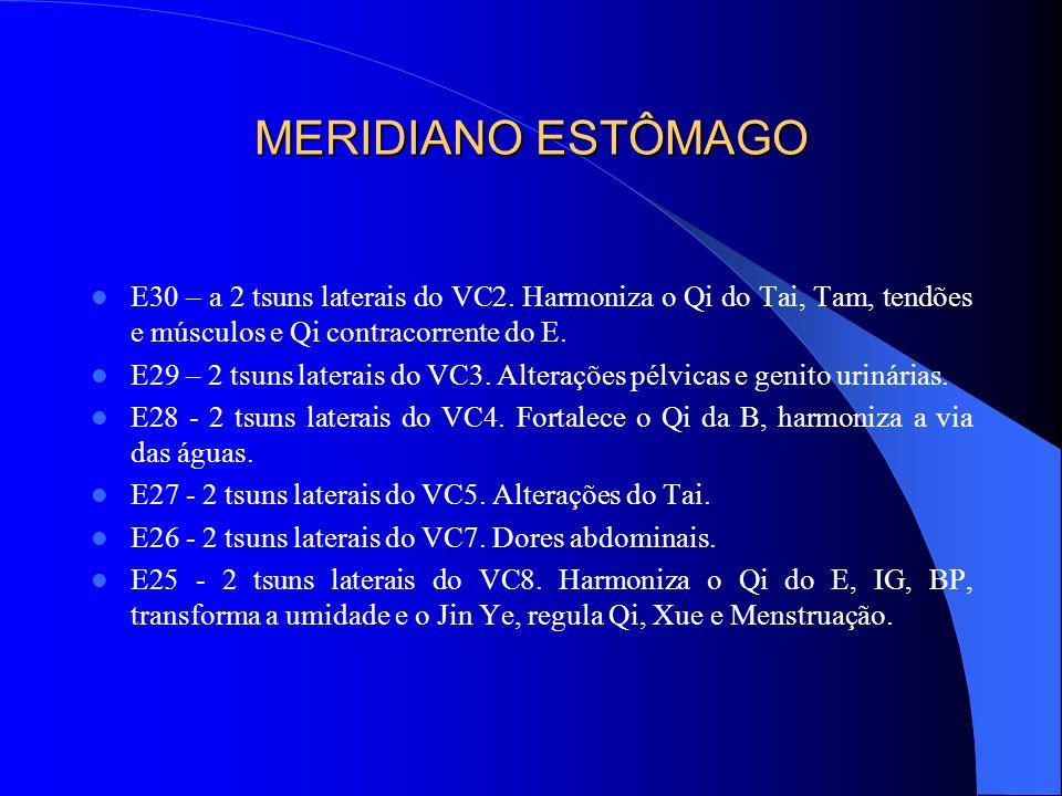 MERIDIANO ESTÔMAGO E30 – a 2 tsuns laterais do VC2. Harmoniza o Qi do Tai, Tam, tendões e músculos e Qi contracorrente do E. E29 – 2 tsuns laterais do