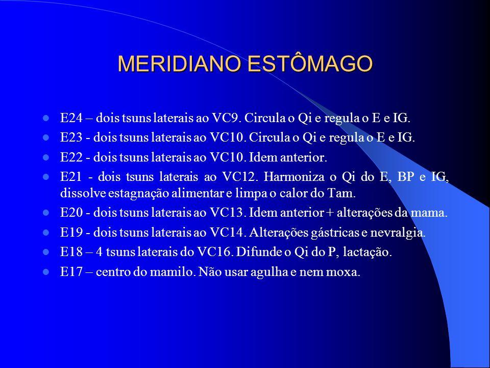 MERIDIANO ESTÔMAGO E24 – dois tsuns laterais ao VC9. Circula o Qi e regula o E e IG. E23 - dois tsuns laterais ao VC10. Circula o Qi e regula o E e IG