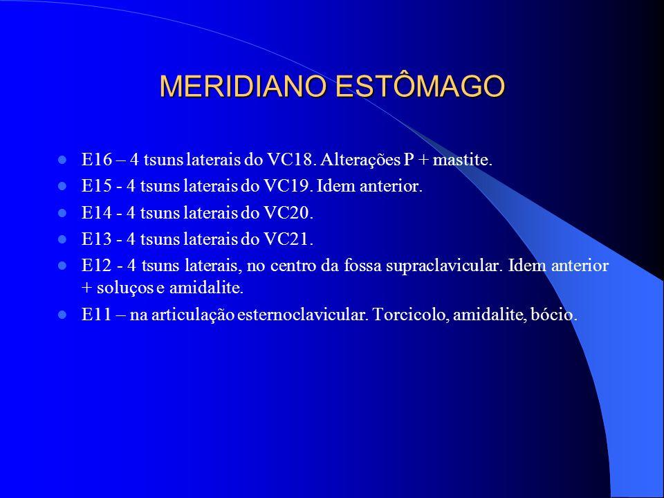 MERIDIANO ESTÔMAGO E16 – 4 tsuns laterais do VC18. Alterações P + mastite. E15 - 4 tsuns laterais do VC19. Idem anterior. E14 - 4 tsuns laterais do VC