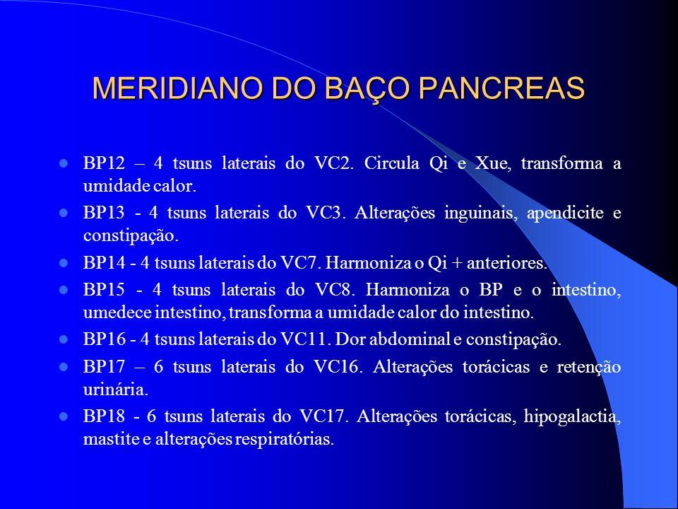 MERIDIANO DO BAÇO PANCREAS BP12 – 4 tsuns laterais do VC2. Circula Qi e Xue, transforma a umidade calor. BP13 - 4 tsuns laterais do VC3. Alterações in