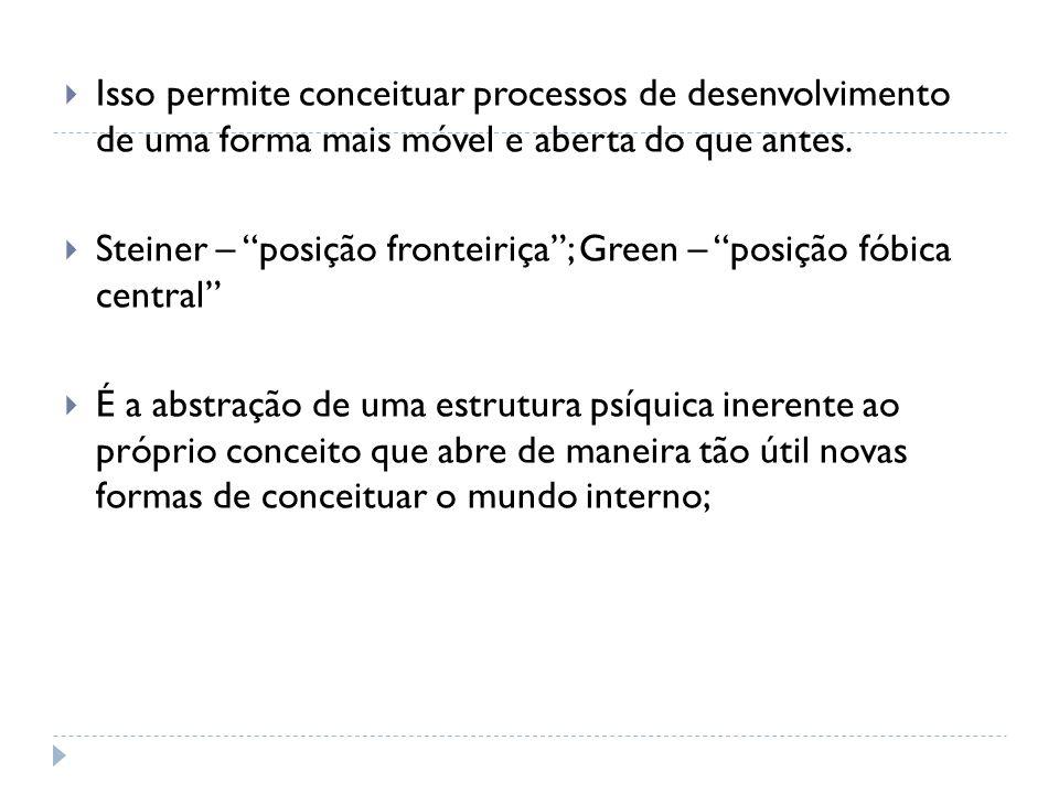 Isso permite conceituar processos de desenvolvimento de uma forma mais móvel e aberta do que antes. Steiner – posição fronteiriça; Green – posição fób