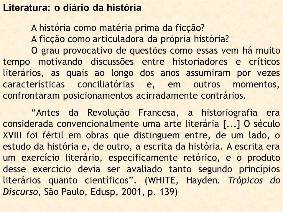 Literatura: o diário da história A história como matéria prima da ficção? A ficção como articuladora da própria história? O grau provocativo de questõ