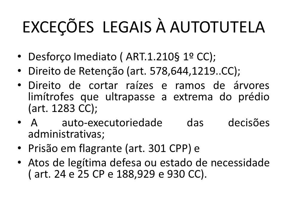 EXCEÇÕES LEGAIS À AUTOTUTELA Desforço Imediato ( ART.1.210§ 1º CC); Direito de Retenção (art.