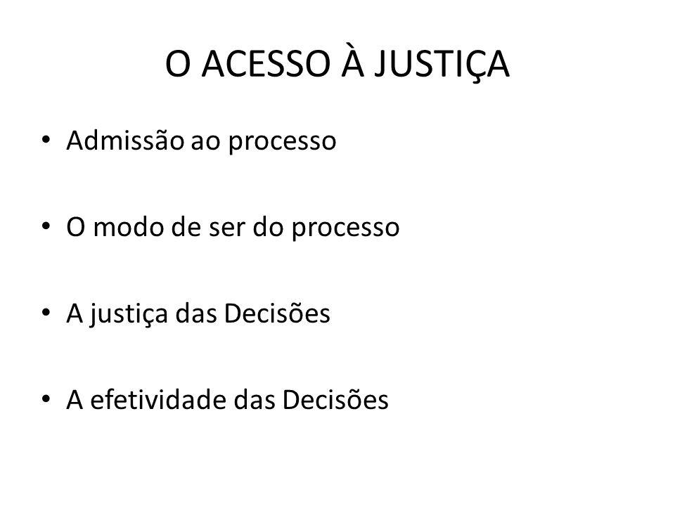 O ACESSO À JUSTIÇA Admissão ao processo O modo de ser do processo A justiça das Decisões A efetividade das Decisões