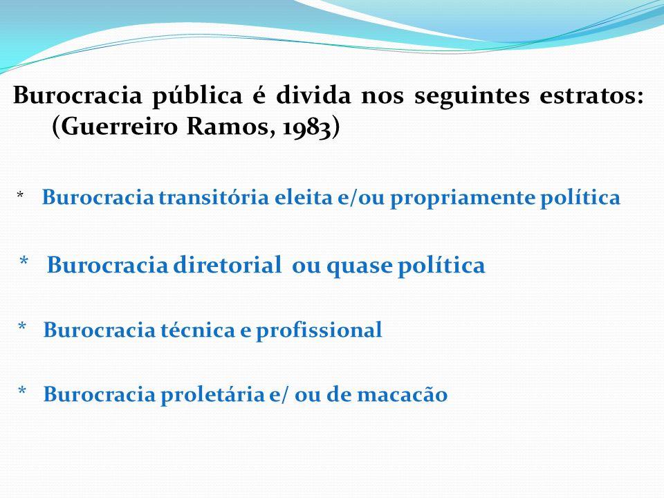 a) Burocracia transitória eleita e/ou propriamente política A burocracia eleita tem como característica sua transitoriedade, dado que não existem critérios precisos de eficiência nem estatuto escrito que regule detalhadamente as funções que seus ocupantes podem exercer.
