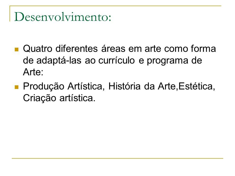 Desenvolvimento: Quatro diferentes áreas em arte como forma de adaptá-las ao currículo e programa de Arte: Produção Artística, História da Arte,Estéti