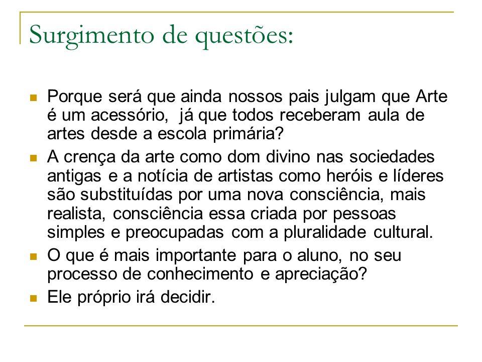Surgimento de questões: Porque será que ainda nossos pais julgam que Arte é um acessório, já que todos receberam aula de artes desde a escola primária