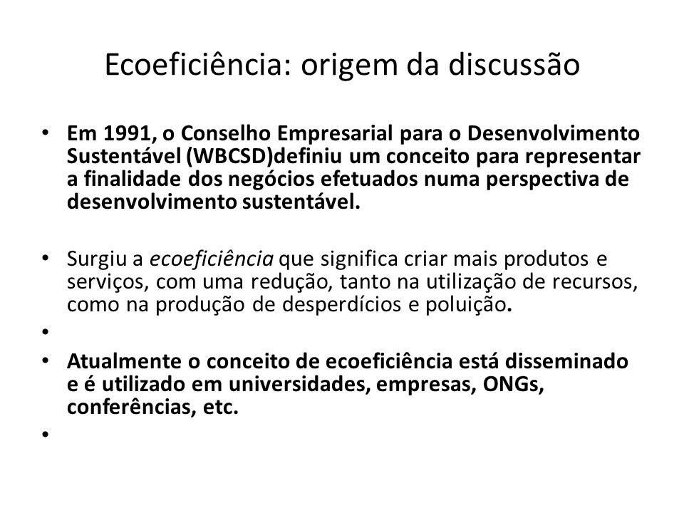 Ecoeficiência: origem da discussão Em 1991, o Conselho Empresarial para o Desenvolvimento Sustentável (WBCSD)definiu um conceito para representar a fi
