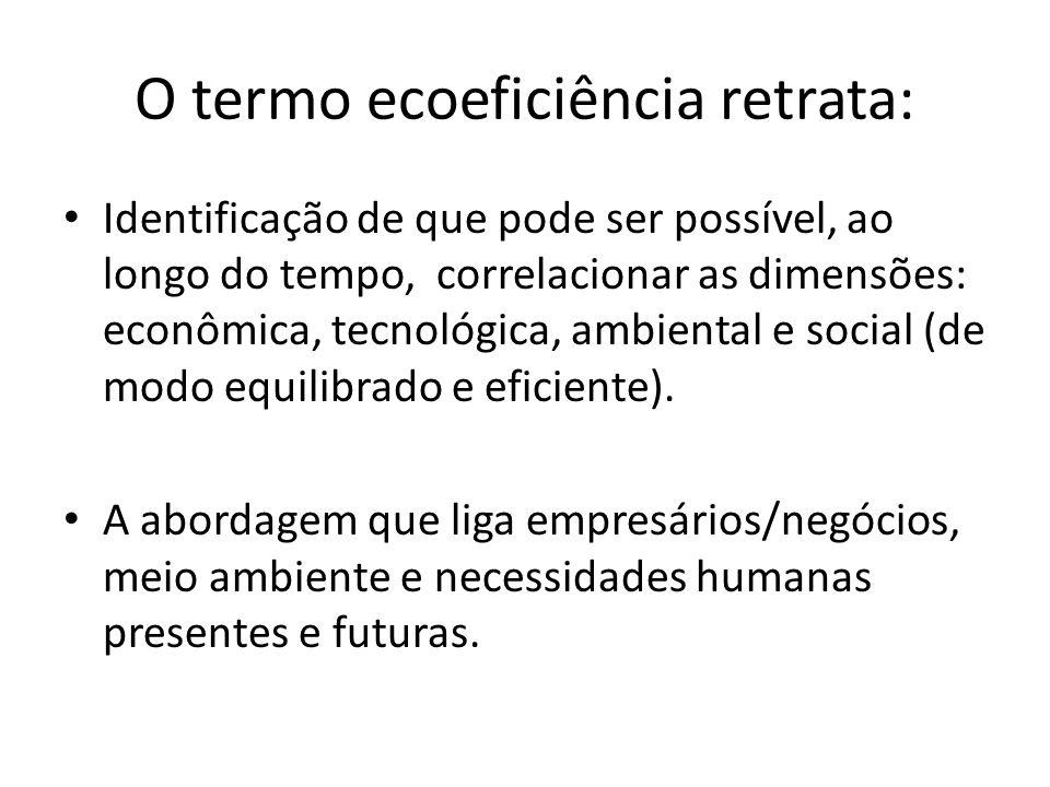 O termo ecoeficiência retrata: Identificação de que pode ser possível, ao longo do tempo, correlacionar as dimensões: econômica, tecnológica, ambienta