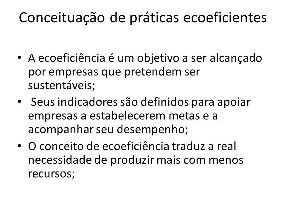 Conceituação de práticas ecoeficientes A ecoeficiência é um objetivo a ser alcançado por empresas que pretendem ser sustentáveis; Seus indicadores são