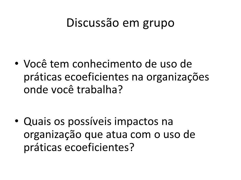 Discussão em grupo Você tem conhecimento de uso de práticas ecoeficientes na organizações onde você trabalha? Quais os possíveis impactos na organizaç