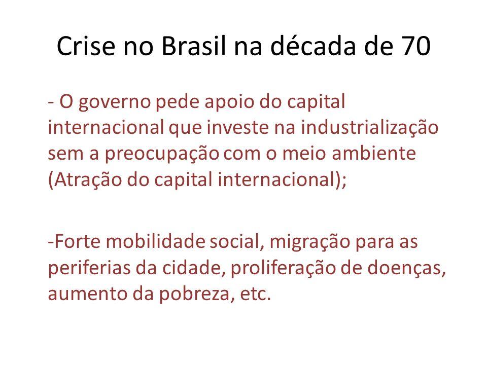 Crise no Brasil na década de 70 - O governo pede apoio do capital internacional que investe na industrialização sem a preocupação com o meio ambiente