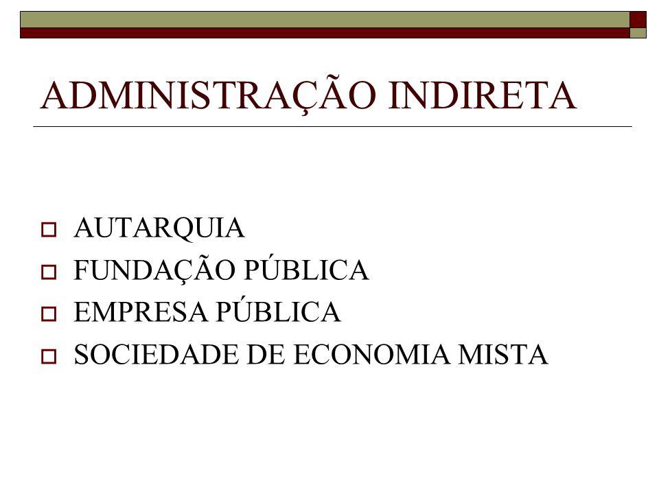 ADMINISTRAÇÃO INDIRETA AUTARQUIA FUNDAÇÃO PÚBLICA EMPRESA PÚBLICA SOCIEDADE DE ECONOMIA MISTA
