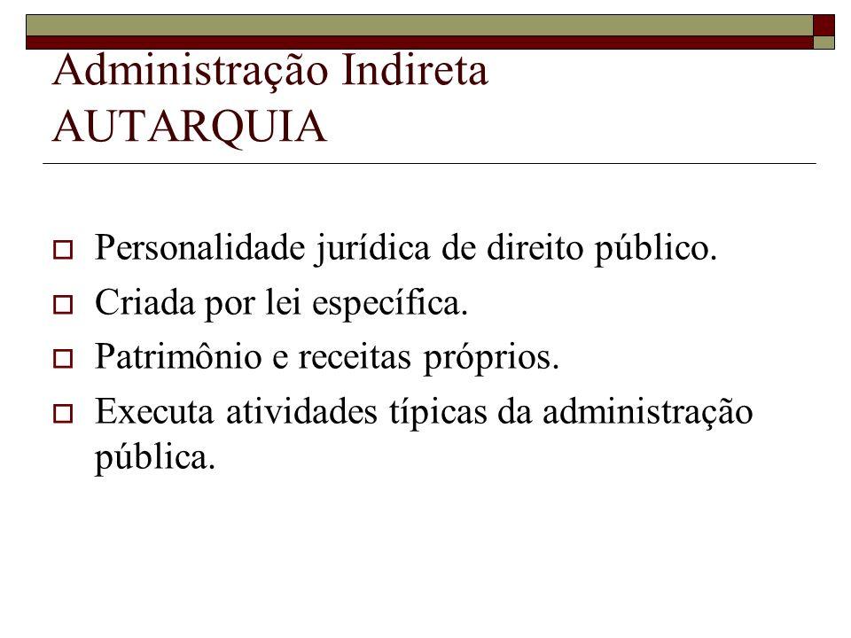 Administração Indireta AUTARQUIA Personalidade jurídica de direito público. Criada por lei específica. Patrimônio e receitas próprios. Executa ativida