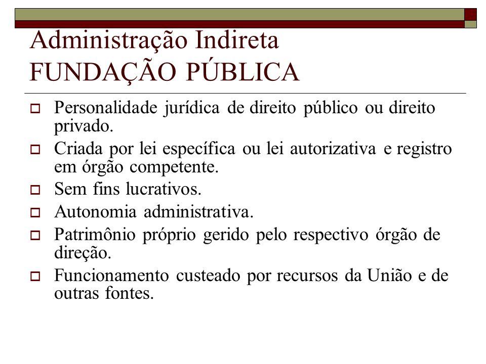 Administração Indireta FUNDAÇÃO PÚBLICA Personalidade jurídica de direito público ou direito privado. Criada por lei específica ou lei autorizativa e