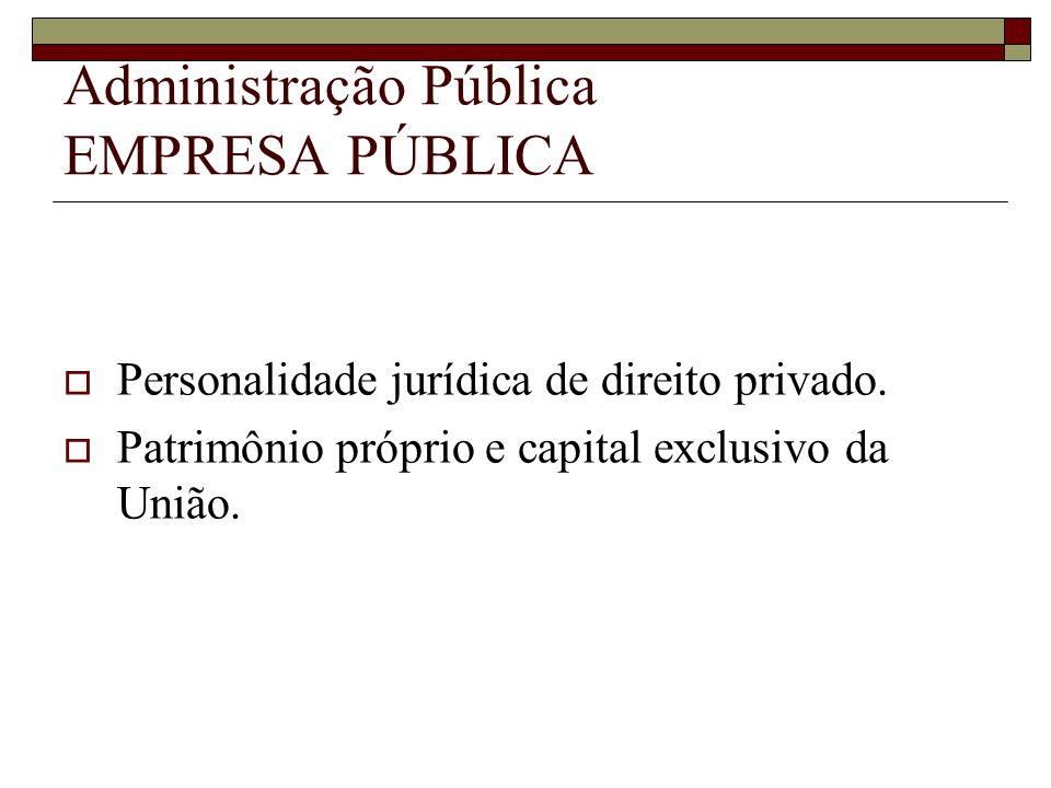Administração Pública EMPRESA PÚBLICA Personalidade jurídica de direito privado. Patrimônio próprio e capital exclusivo da União.