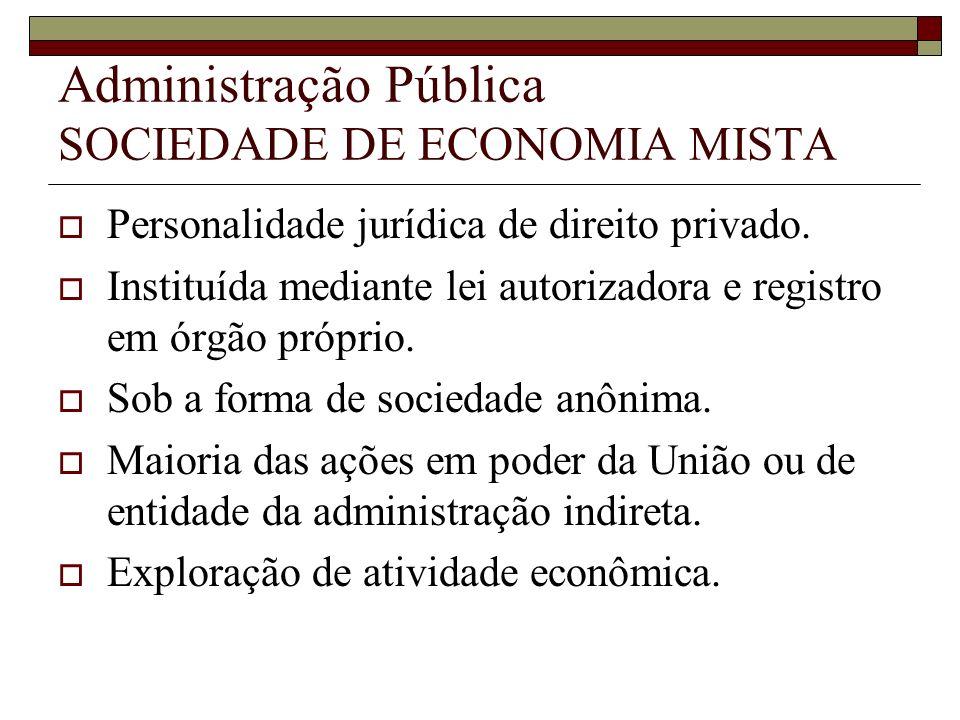 Administração Pública SOCIEDADE DE ECONOMIA MISTA Personalidade jurídica de direito privado. Instituída mediante lei autorizadora e registro em órgão