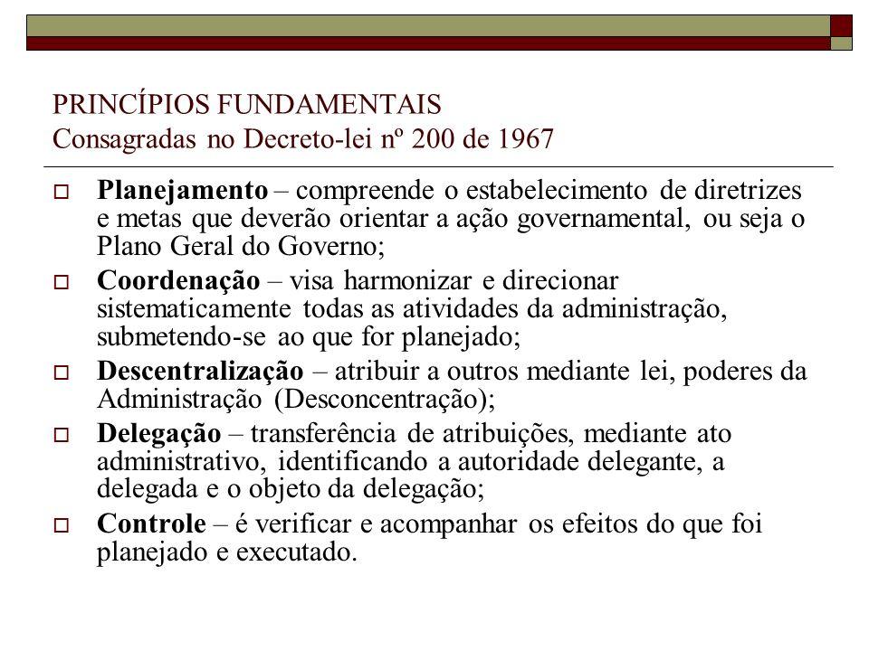 PRINCÍPIOS FUNDAMENTAIS Consagradas no Decreto-lei nº 200 de 1967 Planejamento – compreende o estabelecimento de diretrizes e metas que deverão orient