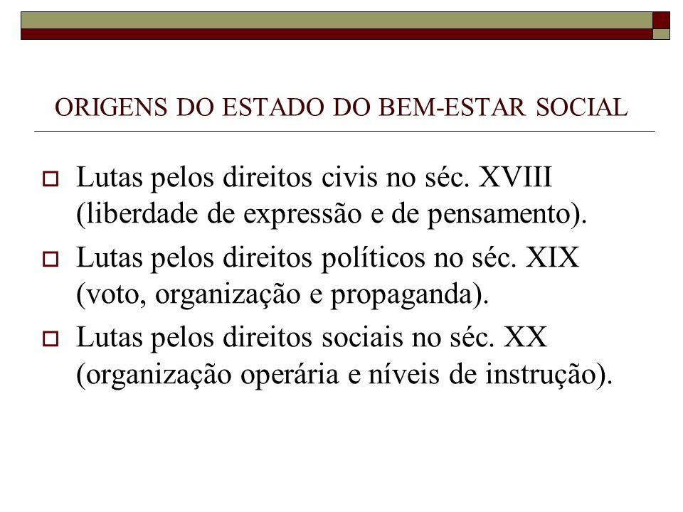 ORIGENS DO ESTADO DO BEM-ESTAR SOCIAL Lutas pelos direitos civis no séc. XVIII (liberdade de expressão e de pensamento). Lutas pelos direitos político