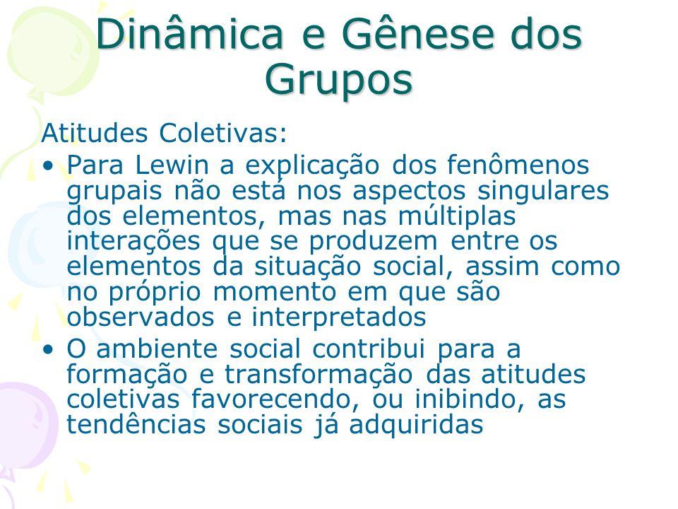 Dinâmica e Gênese dos Grupos Atitudes Coletivas: Para Lewin a explicação dos fenômenos grupais não está nos aspectos singulares dos elementos, mas nas