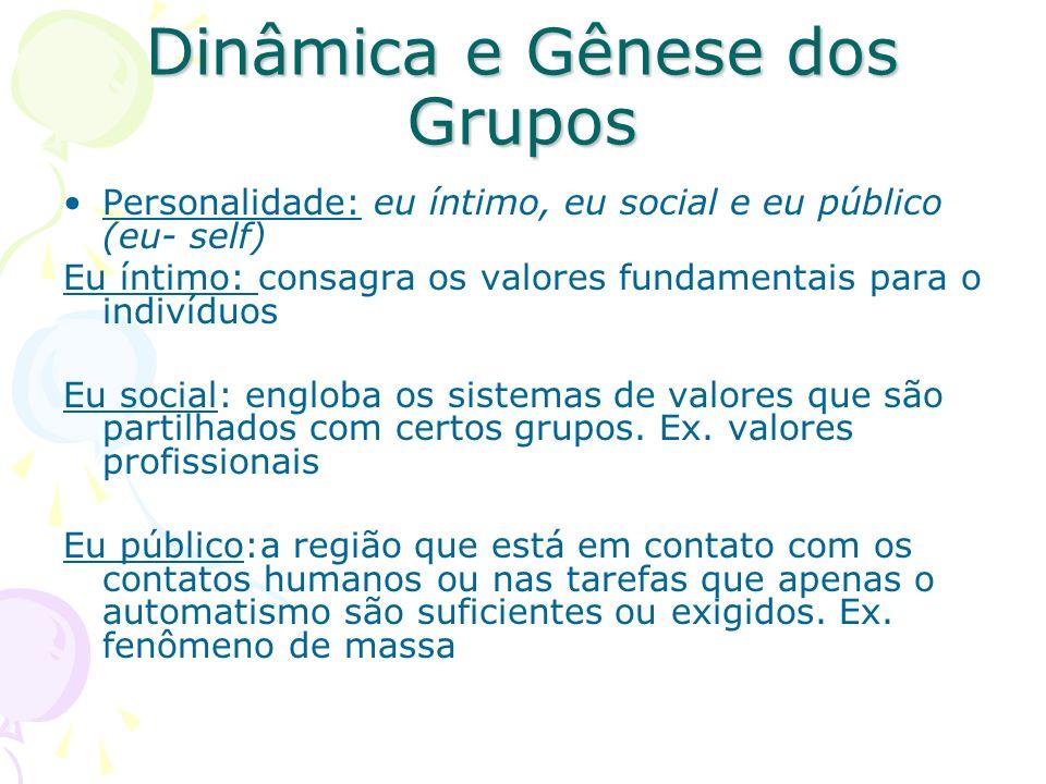 Dinâmica e Gênese dos Grupos Personalidade: eu íntimo, eu social e eu público (eu- self) Eu íntimo: consagra os valores fundamentais para o indivíduos