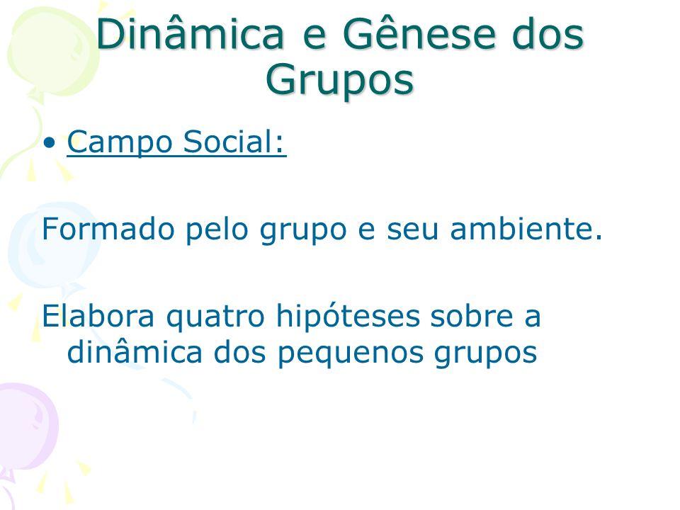 Dinâmica e Gênese dos Grupos Campo Social: Formado pelo grupo e seu ambiente. Elabora quatro hipóteses sobre a dinâmica dos pequenos grupos